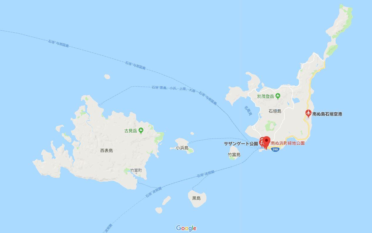 石垣島空港から南ぬ浜ビーチまでの地図